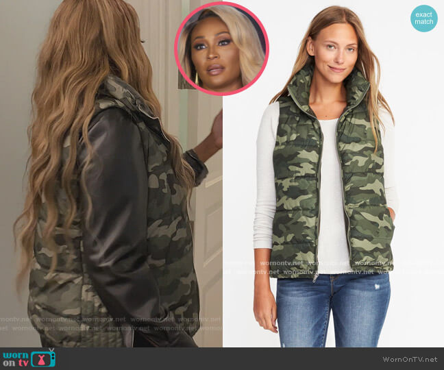 Camo Puffer Vest by Old Navy worn by Cynthia Bailey  on The Real Housewives of Atlanta