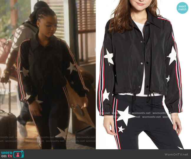 Star Drawstring Track Jacket by Pam & Gela worn by Jazlyn Forster (Chloe Bailey) on Grown-ish