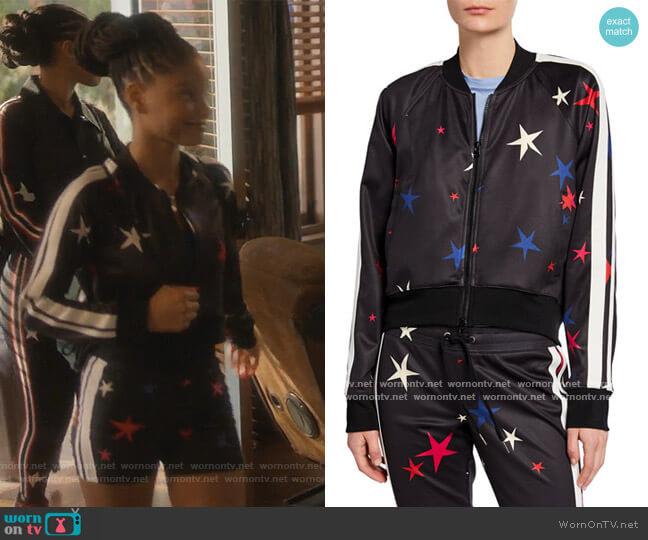 Star Side-Stripe Raglan-Sleeve Crop Track Jacket by Pam & Gela worn by Skylar Forster (Halle Bailey) on Grown-ish