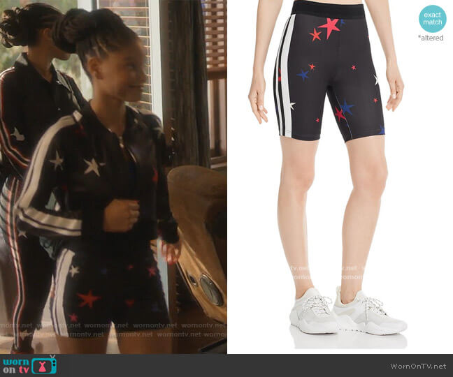 Star Bikeshorts by Pam & Gela worn by Skylar Forster (Halle Bailey) on Grown-ish