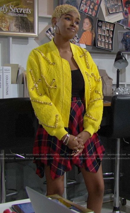 Paris's yellow chain detail bomber jacket and plaid skirt on The Bold and the Beautiful