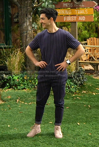 Parker's navy pinstripe tee and pants on Bunkd