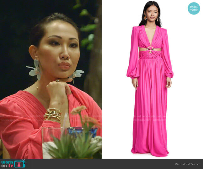 Neon Cutout Gown by PatBo worn by Tiffany Moon  on The Real Housewives of Dallas