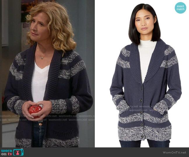 Pendleton Indigo Diamond Cardigan Sweater worn by Vanessa Baxter (Nancy Travis) on Last Man Standing