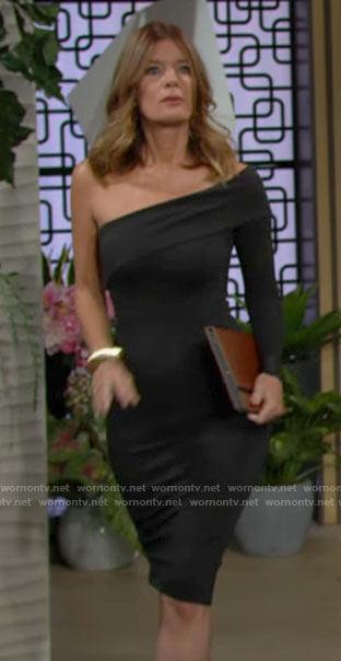 Phyllis's black one-shoulder dress on The Young and the Restless