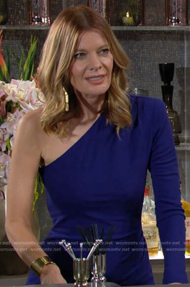 Phyllis's blue one-shoulder dress on The Young and the Restless