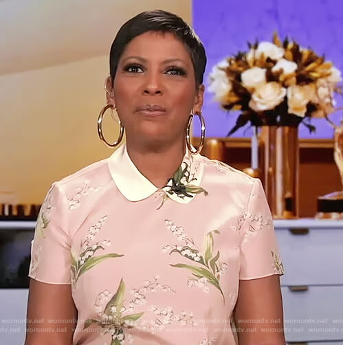 Tamron's pink floral dress on Tamron Hall Show
