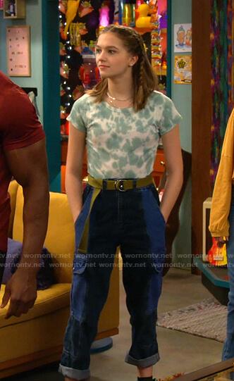 Presley's blue colorblock utility jeans on Side Hustle