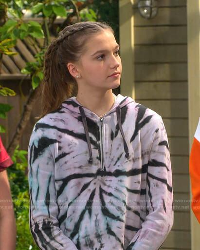 Presley's tie dye hoodie on Side Hustle
