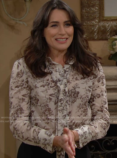 Quinn's white floral tie neck blouse on The Bold and the Beautiful