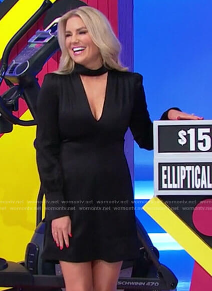 Rachel's black cutout neck dress on The Price is Right
