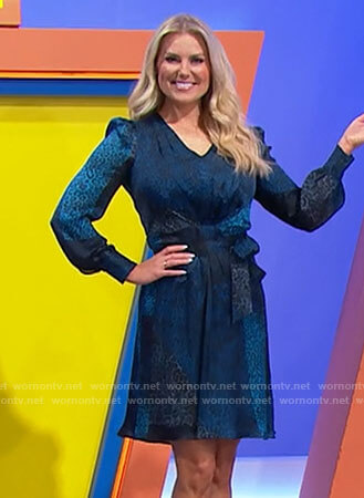 Rachel's blue leopard print dress on The Price is Right