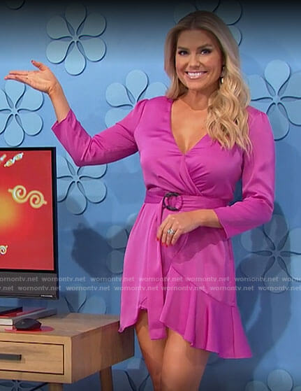 Rachel's pink wrap dress on The Price is Right
