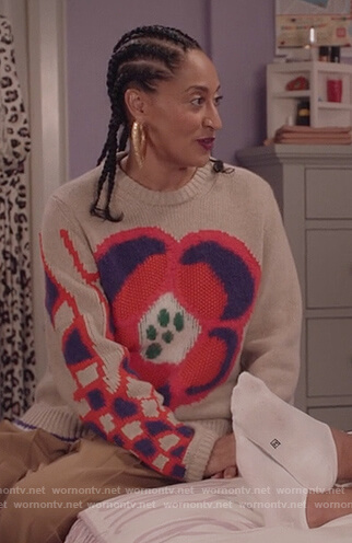 Rainbow's beige floral knit sweater on Black-ish