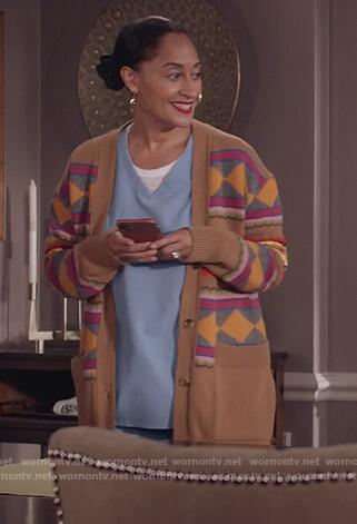 Rainbow's beige argyle knit sweater on Black-ish