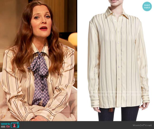 Adrien Satin-Stripe Boyfriend Shirt by Ralph Lauren worn by Drew Barrymore  on The Drew Barrymore Show