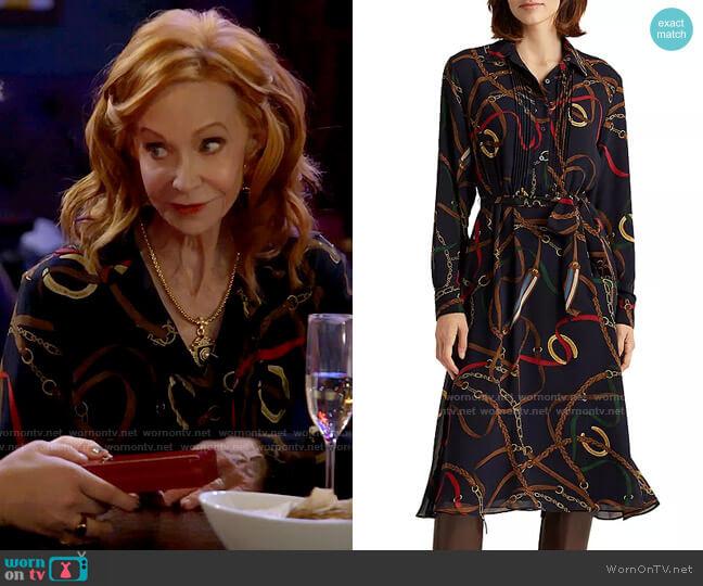 LAUREN Ralph Lauren Printed Shirt Dress worn by Sheila (Swoosie Kurtz) on Call Me Kat