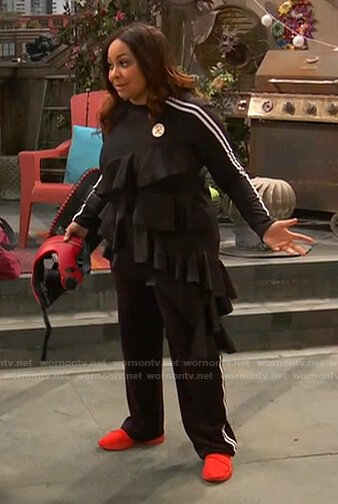Raven's black ruffle top and trackpants on Ravens Home