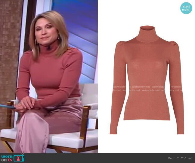 Turtleneck Sweater by Rebecca Taylor worn by Amy Robach  on Good Morning America