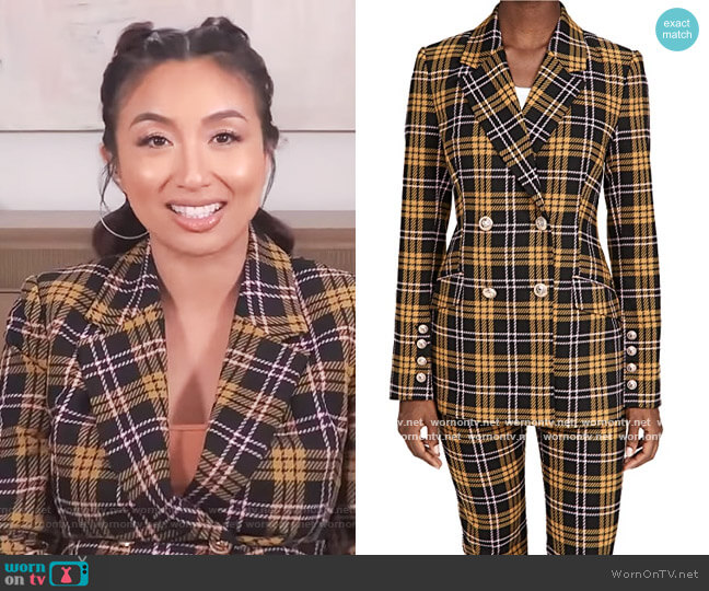 Chateau double-breasted checked jacquard blazer by Rebecca Vallance worn by Jeannie Mai  on The Real