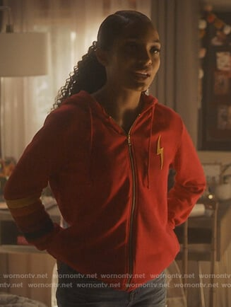 Zoey's red lightning bolt hoodie on Grown-ish