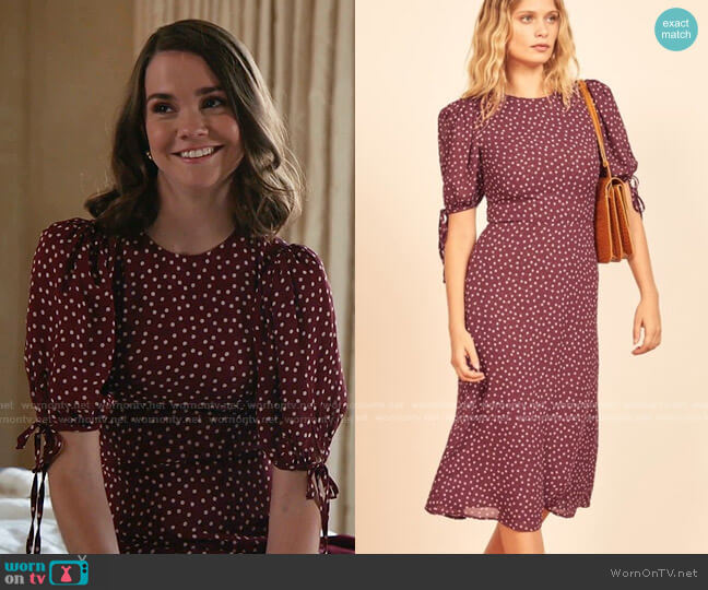 Oakley Polka Dot Dress by Reformation worn by Callie Foster (Maia Mitchell) on Good Trouble