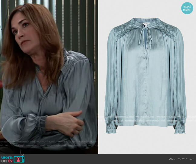 Everly Blouse by Reiss worn by Kim Delaney on General Hospital