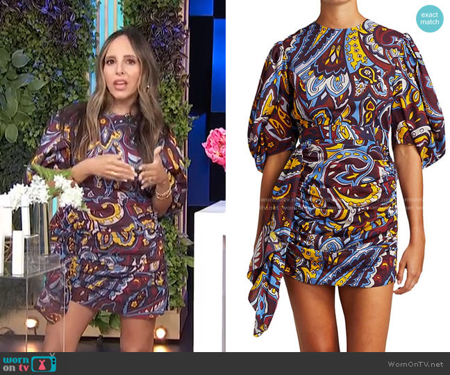 Pia Paisley Mini Dress by Rhode worn by Lilliana Vazquez  on E! News