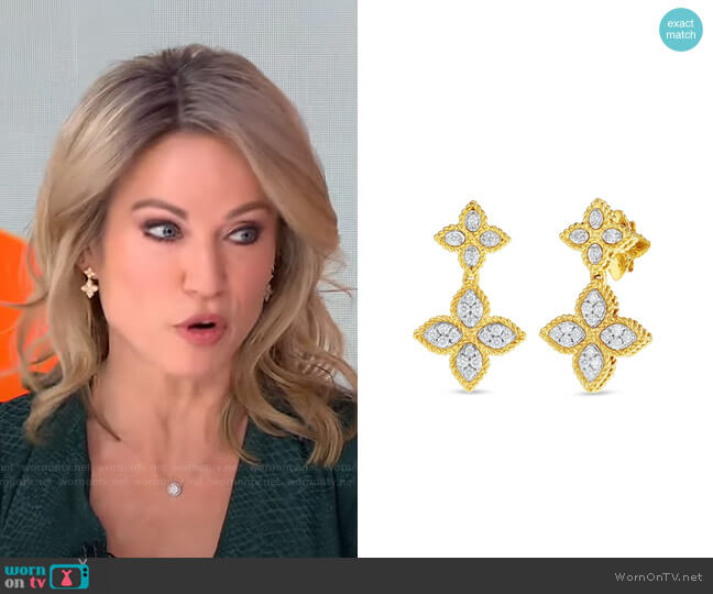 Princess Flower Yellow Gold Diamond Double Drop Earrings by Roberto Coin worn by Amy Robach  on Good Morning America
