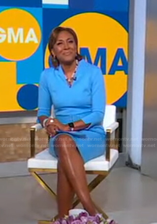 Robin's blue belted sheath dress on Good Morning America