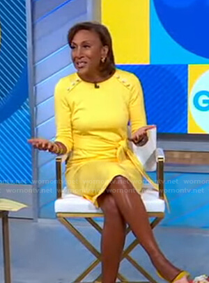 Robin's yellow button detail dress on Good Morning America