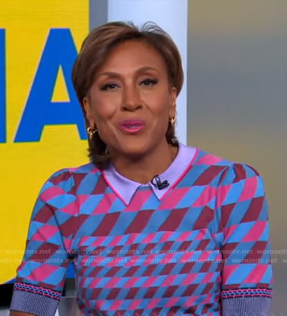 Robin's geometric polo sweater and skirt on Good Morning America