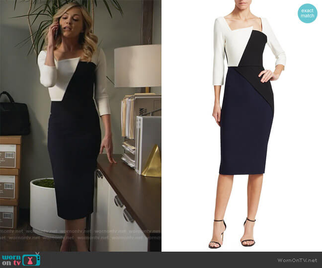 Hughes Contrast-Panel Dress by Roland Mouret worn by Amy Quinn (Lindsey Gort) on All Rise