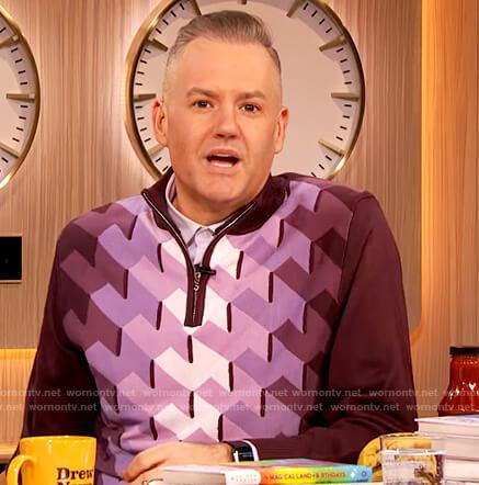 Ross Mathew's purple geometric sweater on The Drew Barrymore Show