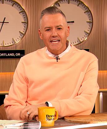 Ross Mathew's orange sweatshirt on The Drew Barrymore Show