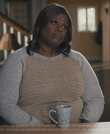 Ruby's gray stripe sweater on Good Girls