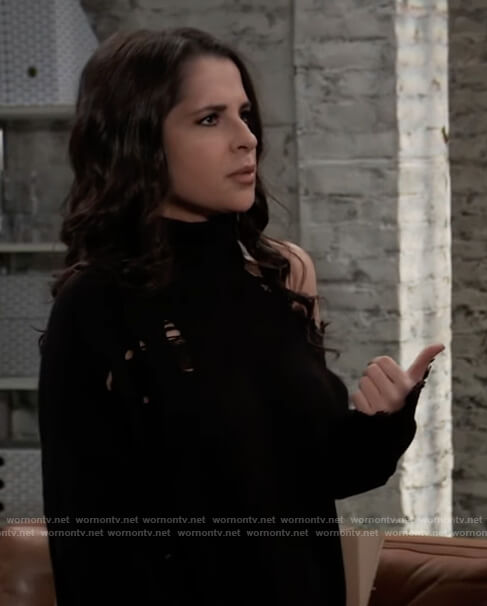 Sam's black distressed sweater on General Hospital