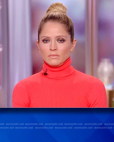 Sara's red turtleneck dress on The View