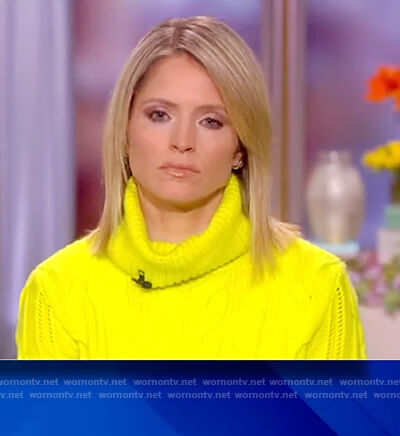 Sara's neon yellow knit sweater on The View