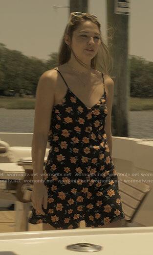 Sarah's black floral dress on Outer Banks