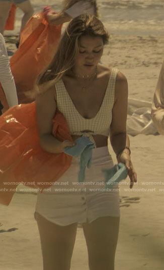 Sarah's checked bikini and white buttoned skirt on Outer Banks