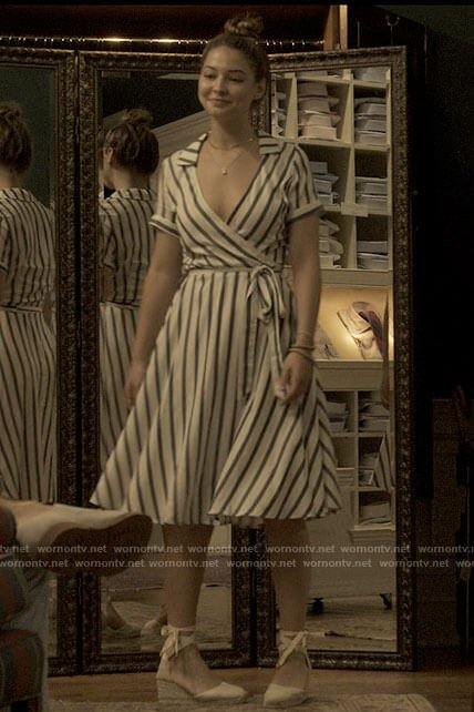 Sarah's striped wrap dress on Outer Banks