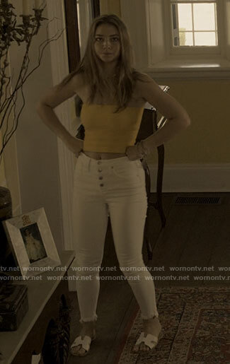 Sarah's yellow ribbed tube top and white jeans on Outer Banks