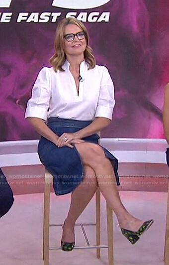Savannah's white blouse and denim skirt on Today