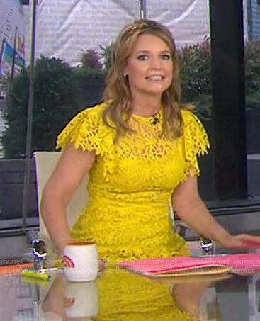 Savannah's yellow floral lace dress on Today