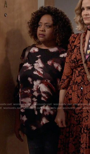 Sharon's black abstract floral top on Call Your Mother