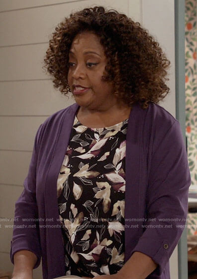Sharon's black floral and leaf print top and purple cardigan on Call Your Mother