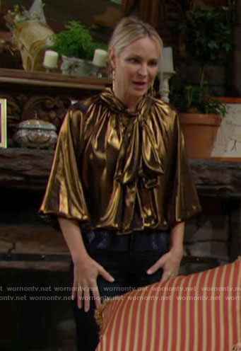 Sharon's gold tie neck blouse on The Young and the Restless