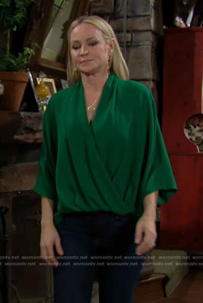 Sharon's green draped wrap front blouse on The Young and the Restless