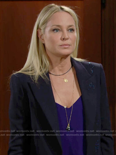 Sharon's navy glittery blazer on The Young and the Restless
